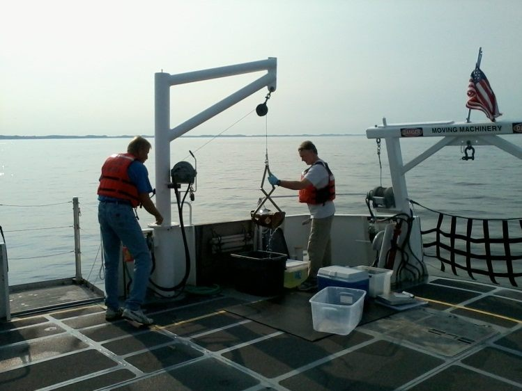 Collecting Lake Michigan sediments on AWRI's research vessel, W.G. Jackson.